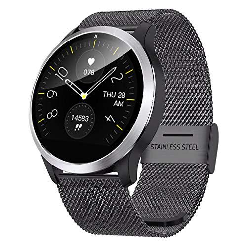 QKa Big Screen Smart Watch mit Blutdruck-Herzfrequenzmonitor Einstellbare Helligkeit Edelstahl-Armband Smartwatch IP68,Black