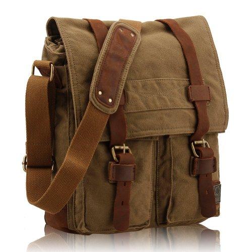 Casual sac à bandoulière en toile Vintage Hommes Sac Messenger Bag Traval Bruns Rétro (Vert d'armée)