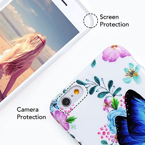 iPhone 7 Plus Hülle,iPhone 8 Plus Hülle,Imikoko® Elegant Blumen Blumenmuster Retro Floral Malerei Series Beauty Protective Schützend Stoßfest Anti Staub Kratzer Soft Weich TPU Handyhülle Case Back Cov Schmetterling