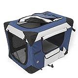Amzdeal Hundebox Katzentransportbox, Faltbare Transportbox katzen und Hunde, Klappbare Autobox Reisebox mit Seitlichem Einstieg und Weicher Decke, 60 x 42 x 42CM
