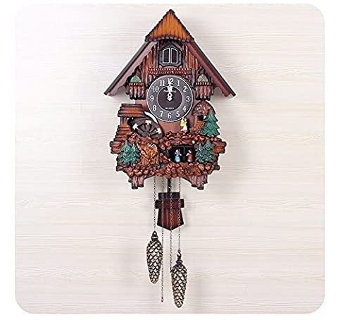 Beautiful fashion wall clock Cuckoo clocks timekeeping European pastoral fashion creative living room wall clock Waterwheel rotating Doll rotation YANGFF-Wall Clocks