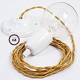 Creative-Cables Lampe Suspension en Porcelaine câble Textile Effet Soie Or TM05-1 Mètres, Monté, Non