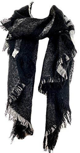 Mevina Karo Schal Oversized XXL mit Fransen und Wolle Kariert Winterschal Dreieck groß rechteckig Spitz Schal Schwarz T2470