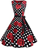 bridesmay 1950er Vintage Rockabilly V-Ausschnitt Kleid Retro Cocktailkleid Schwingen Kleid Faltenrock Black White Dot Flower L