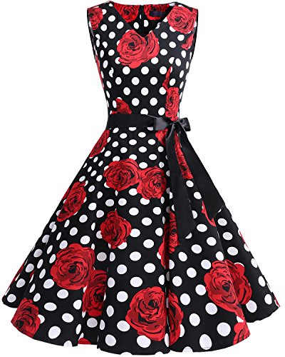 bridesmay 1950er V-Ausschnitt Kleid Vintage Cocktailkleid Rockabilly Retro Schwingen Kleid Faltenrock Black White Dot Flower 3XL