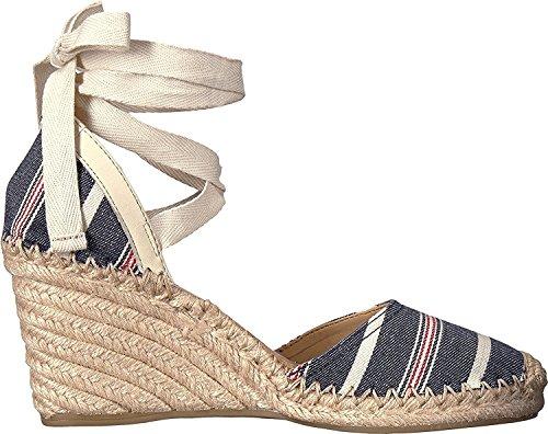 Sam Edelman Womens Patsy Espadrille Wedge Sandal Blue Multi/Modern Ivory Large Americana Stripe Fabric