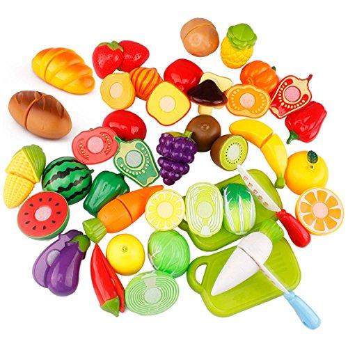 YoGou Plastikfrucht-Gemüse-Küche Obst Gemüse Cutting Toy Pretend Play Kinder-Rollenspiele Küchenspielzeug 29-teilig