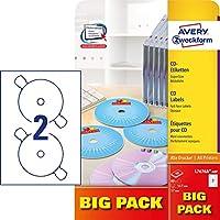 Avery Zweckform CD/DVD Labels Blanco - Etiquetas de impresora (Blanco, A4, Papel, Laser/Inyección de tinta, Permanente, Mezclar)