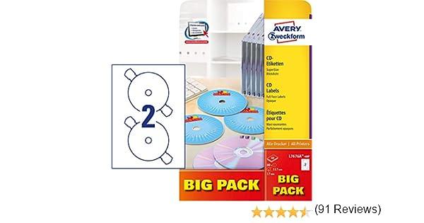 117 mm Etichette bianche opache per CD Avery Zweckform L7676 40 etichette