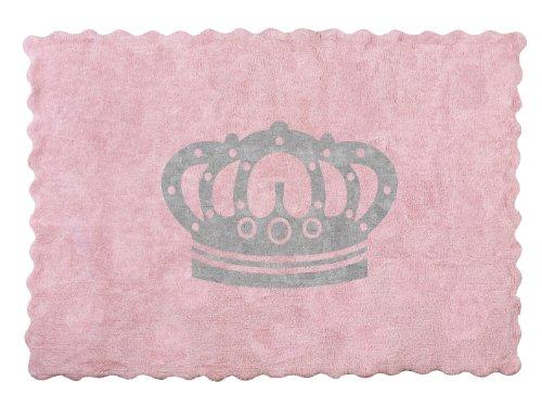 Aratextil. Alfombra Infantil 100% Algodón lavable en lavadora Colección Corona Rosa_Gris 120x160 cms