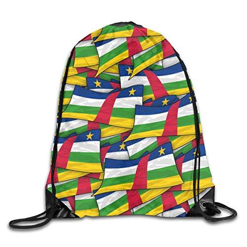 Naiyin Central African Flag Wave Collage Drawstring Backpack Bag Rucksack Shoulder Sackpack Sport Gym Yoga Runner Beach Hiking Dance Collage Fleece