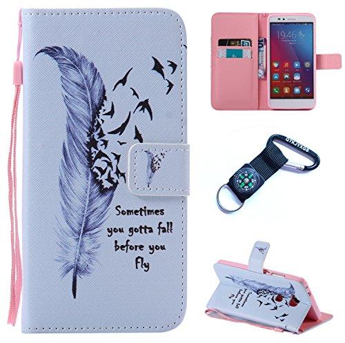 Preisvergleich Produktbild für Huawei Honor 5X Hülle Blume Premium PU Leder Schutzhülle für Huawei Honor 5X (5,5 Zoll) Bookstyle Tasche Schale PU Case mit Standfunktion+Outdoor Kompass Schlüsselanhänge) SX (6)