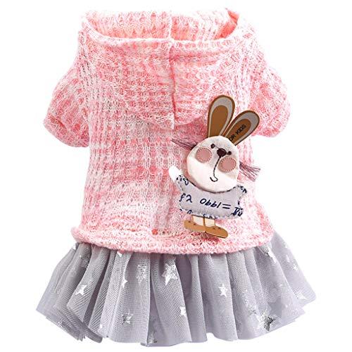 LGHOVRS Pull Vêtements pour Animaux domestiques Veste en Coton Manteau Style De La Mode à Tricoter Robe De Lapin Automne Et Hiver Confort Cat Dog Clothing(Pink,XS)