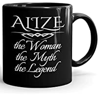 Alize Coffee Mug Tazas Negras Personalizadas con Nombres - The Woman The Myth The Legend -