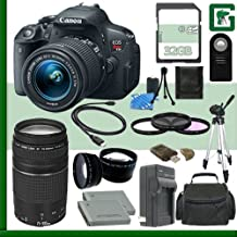 Canon EOS Rebel T5i Digital SLR Camera Kit With 18-55mm STM Lens And EF 75-300mm III Lens + 32GB Green's Camera Package 1