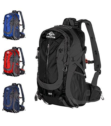 GEIGELSTEIN 35 Liter Bergsteiger Rucksack Inklusive Raincover, mit Gratis Bergsicherheits Guide als E-Book, für Berg-Sport, Trekking, Wandern, Mountain-Bike, Outdoor und Reise (Schwarz)