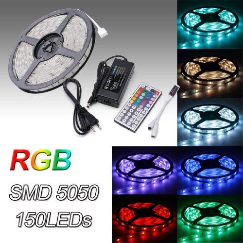 Auralum® 5M RGB Color SMD 5050*150 Leds 12V 36W 2250LM IP65 Wasserdicht Flexible LED Streifen Strip Band Leiste + 44 Key Fernbedienung + DC 12V Netzteil