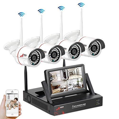 Système de CCTV Caméra Sécurité, kit de Surveillance sans Fil à Domicile, 4CH HD 960p WiFi Caméras Infraroge avec 7'' Moniteur, Connecter et Activer, Accès à Distance, Pas de Disque Dur SWINWAY