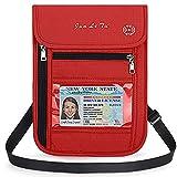 Brustbeutel mit RFID Schutz, WACCET Passinhabers Wasserfeste Brusttasche für Damen und Herren, Umhängetasche Reise Brustbeutel für Smartphone Reise-Dokumente Passport Geld (Rot)