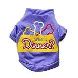 Hawkimin Kleine Haustier Hund Katze T-Shirt, When's Dinner Sommer Baumwolle Sicherheit Atmungsaktiv Homewear Sweatshirt Hunde Kleider Sportswear