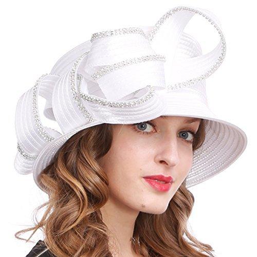 VECRY Damen Tea-Party-Kirche Taufe Kentucky Derby Dressy Hut mittel (Weiße Satin Derby Hat)