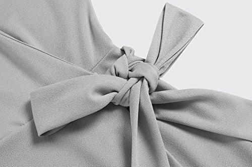 Meaneor Damen Kleid V-Ausschnitt Cocktailkleid Elegant Wickelkleid Elegant Party Abend Mit Gürtel Hellgrau