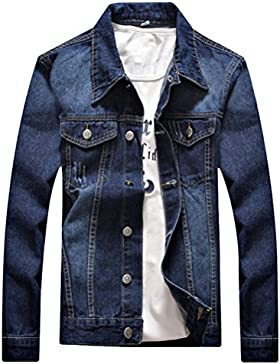 Zhuhaitf Cómodo y suave Mens Autumn Classic Long Sleeve Washed Denim Jacket Stylish Slim Fit