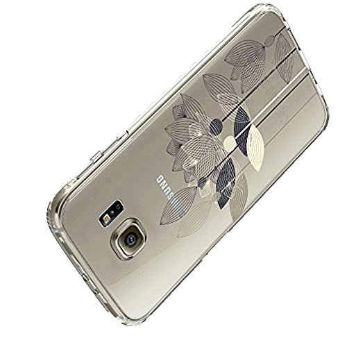 Pacyer kompatibel mit Galaxy S6 / S6 Edge / S6 Edge Plus Hülle transparent Silikon Ultra dünn Cooler grüne Blätter Wolf Schutzhülle Rückschale Handyhülle TPU Back cover(4, Galaxy S6 Edge) -