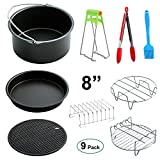 Herrman 8'' Universal Heißluftfritteuse Zubehör für alle Standard-Luftfrittierer 5.3QT-5.8QT- 9 Stücke -Cake Barrel, Pizza Pan, Metal trivet Holder, Grill Rack with 5 skewers, Silicone Mat, Bread Shelf, Anti Hot Bowl Clip, Silicone oil brush, Silicone food clip protect Teflon coating