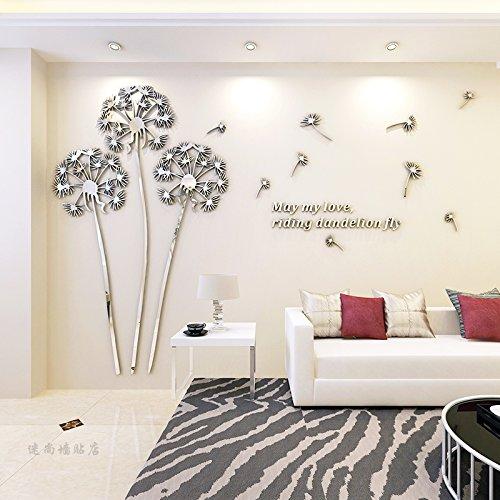JWQT Löwenzahn kreative stereoskopischen 3D-Wall Sticker, Wohnzimmer Restaurant Fernseher Sofa Hintergrund Wandspiegel silber Acryl Dekoration, Spiegel links von Silber, klein