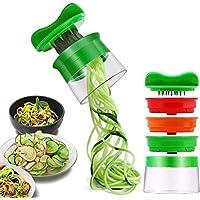 Spiralschneider Hand für Gemüsespaghetti, 3-Klingen Gemüse Spiralschneider, Gemüsenudeln spiralschneider für Karotte, Gurke, Kartoffel,Kürbis, Zucchini, Zwiebel