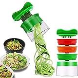 ELIRIVAWET Spiralschneider Hand für Gemüsespaghetti, 3-Klingen Gemüse Spiralschneider, Gemüsenudeln spiralschneider für Karotte, Gurke, Kartoffel,Kürbis, Zucchini, Zwiebel (Grün) (1)
