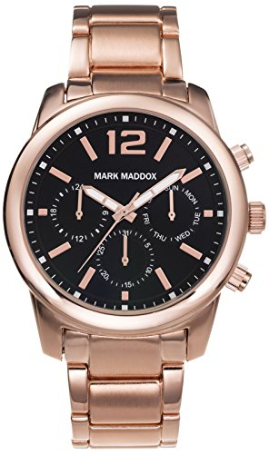Mark Maddox Men's Quartz Watch with Black Dial Chronograph Display and Rose Gold Bracelet HM6003-55 (Certified Refurbished)