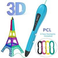 Pluma de Impresión 3D,GVOO [NUEVA VERSIÓN] Inteligente 3D Pen Bolígrafo de Impresión Con 3 Velocidad PLA con Filamentos (1.75mm) Regalo de Cumpleaños para Niños,Adultos