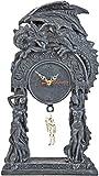 Drachen-Uhr Draco Gothic-Uhr Dragon-Clock Deko-Uhr Gothic-Tischuhr Fantasy-Uhr Fantasy-Tischuhr Totenkopf-Uhr 37cm Mystik