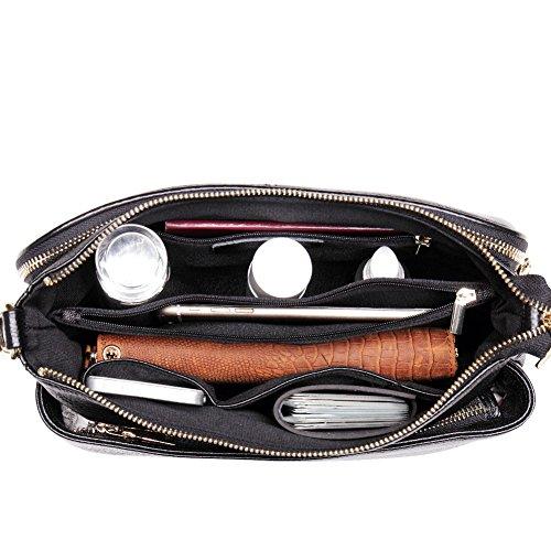 Teemzone Tasche Damen Umhängetasche Schultertasche Tagestasche Handtasche Umhänge Frauen Henkeltasche Ledertasche (Schwarz) Schwarz