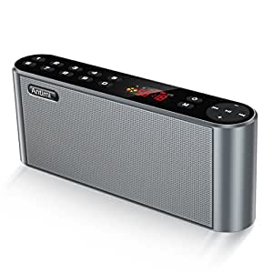 Antimi Bluetooth Speaker,FM Radio Stereo Portable Wireless Speaker Dual Drivers with HD Sound, Built-in Microphone, High Definition Audio and Enhanced Bass,Feel free to switch your custom radio(Black)