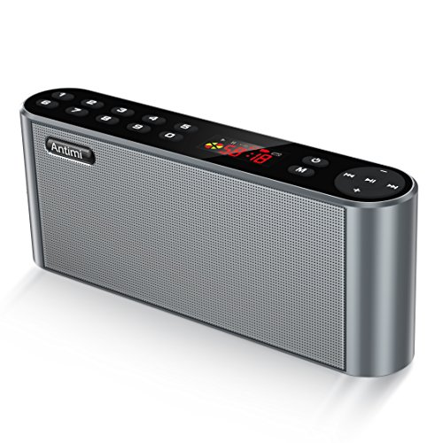 Antimi Bluetooth Lautsprecher,Mobiler Digital FM Radio,MP3 Player Portabler Wireless Speaker mit Kraftvollem Bassmit Eingebauten Mikrofon,Dualen Basstreibern,Kompatibel iPhone,android,iPad,Computer(Schwarz) (Audio-regal)