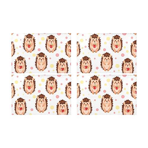 Rtosd Entzückende niedliche Igel mit Apple Küche gedruckt fleckabweisend Wärmedämmung waschbar quadratische Tischset Tischset für Baby und Damen runden Esstisch 12