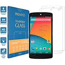 PREMYO [2 Pezzi] vetro temperato Nexus 5. Pellicola vetro temperato Nexus 5 con una durezza di 9H e bordi arrotondati da 2,5D. Pellicola in vetro Nexus 5
