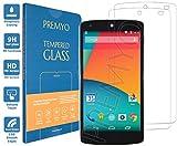 PREMYO [2 Pièces] verre trempé Nexus 5. Film protection Nexus 5 avec un degré de dureté de 9H et des angles arrondis 2,5D. Protection écran Nexus 5
