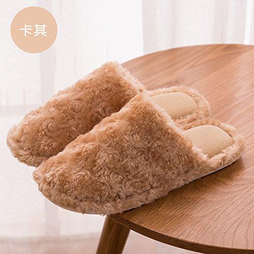 DogHaccd pantofole,Nella caduta di un paio di pantofole di cotone caldo inverno piscina soggiorno home pavimento in legno uomini e donne anti-slittamento spesso calda felpa pantofole Brown2