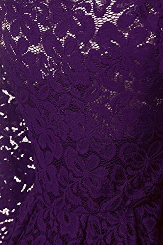 Angerella Damen Schulterfrei Lange Ärmel Hochzeit Party Blumen Spitze Schwingen Kleid Violett