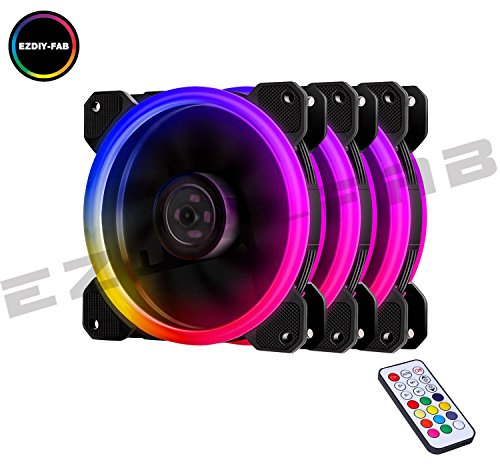 EZDIY-FAB RGB Ventole Ultra silenziose per Case 120 mm, con LED, dissipatori di Calore e radiatori per CPU 3 Set