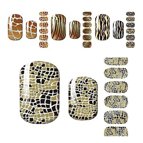 JUZEN Nail Sticker Leopard Nagellack Stick Nail Sticker Applique Langlebige Abnutzung DIY Nail Decal, 10St (Für Schritt Halloween-nageldesign Schritt)