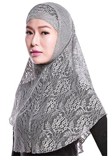 Fortuning's JDS Chic morbido pizzo Moda donna musulmana islamica underscarf calotta interna & Hijab Scialli grigio