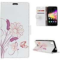 CaseFirst Wiko U Feel Go Wallet Leather Case with Protective Durable Premium Shell Folio flip Cell Phone Cover Bag with Card Slots,Cash Pocket,Flower