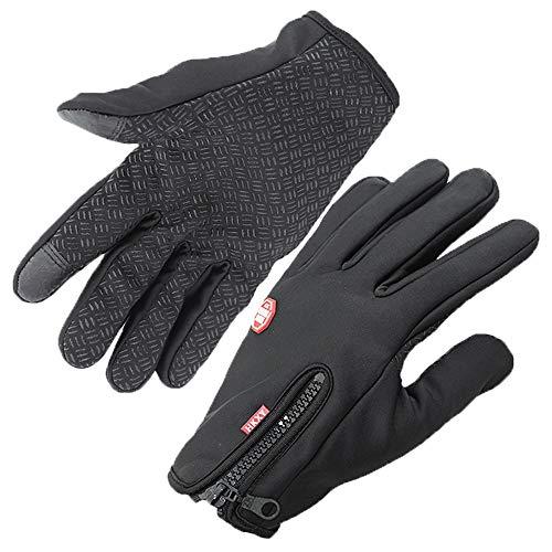 YJiaJu Winter-Fahrradhandschuhe, thermische winddichte warme Fleecehandschuhe-Touch Screen für Frauen-Männer (Color : Black, Size : XL) Bh Thermische