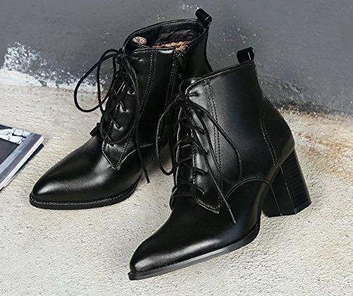 Aisun Femme Mode Bout Pointu Cheville Chunky Bottines Noir