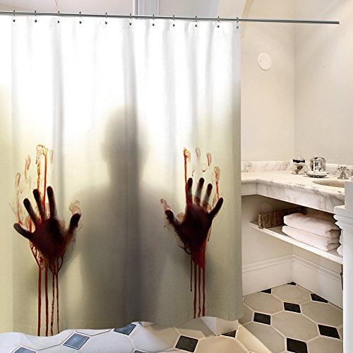 y blutigen Hände Silhouette Shadow Vorhang für die Dusche-Sets mit Weird Bloody Schatten auf mit Wasser und Schimmel Resitance und gratis Haken, Polyester, 1, 70